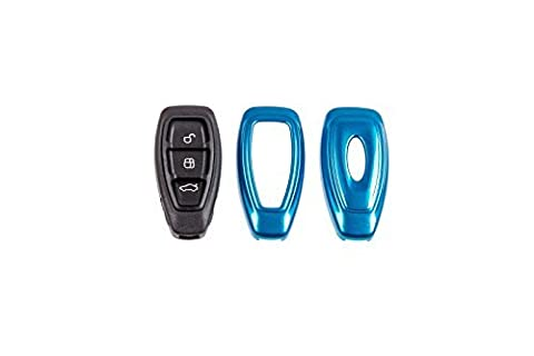 Schlüssel Cover Key Hülle Fernbedienung Blende Blau Metallic C15 für Ford Fiesta MK7 ab BJ 07/2008 Ford Focus MK3 ab BJ 2011 Ford C-Max ab Bj 2010 Ford Mondeo MK4 Ford S-Max ab BJ 2006 Ford Galaxy MK2 ab BJ 2006 Ford Kuga ab BJ 2008 Ford B-Max ab BJ