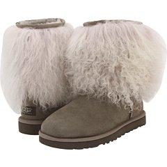 Regen Modeschmuck (Ugg Australia Damen Schaffell-Stiefel kurz Manschettenknöpfe hellgrau/grau,)
