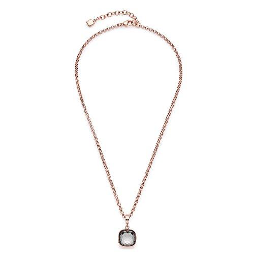 JEWELS BY LEONARDO Damen Halskette Cuscino Edelstahl/roségold Glas grau 42 cm Karabinerverschluss Darlin\'s Clip klein Anhänger Erbskette 016578