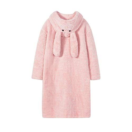 Flanell-nachthemd Kleid (Zcx Damen-Pyjamas-Lange Hülse Warme Bademantel-Karikatur-Bequeme Mit Kapuze Flanell-Nachthemd-Morgen-Kleid Und Kimono (Farbe : Pink, größe : 170/92A))