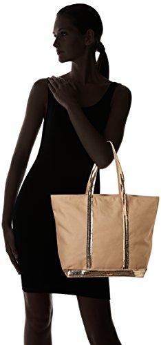 Vanessa Bruno Damen Cabas Moyen + Zippe Coton Et Paillettes Tote, 18x33x48 centimeters Gelb (Blé)
