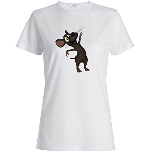 Dancing mouse cartoon funny Dammen baumwolle t-shirt Weiß