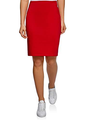 oodji Ultra Damen Jersey-Bleistiftrock, Rot, DE 42 / EU 44 / XL -