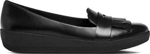 FitFlop Femmes Noir Fringy SneakerLoafer Chaussures Noir