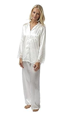 Ladies Charmeuse Satin/Lace 2 Piece Pyjamas - Ivory 10 - 28 (26/28)