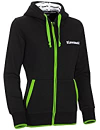 Kawasaki Sports Sudadera con capucha chaqueta. Full Zip Lady Hoodie. NUEVO. Kawasaki Girl. Mujer Negro Verde