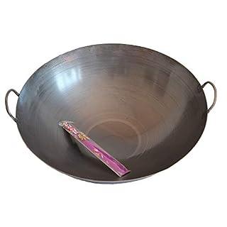 Asia Art Factory AAF Nommel ® Wok Ölwanne ca. 50 cm Durchmesser mit 2 Griffen/Henkeln mit rundem Boden für Gas, Gastronomie