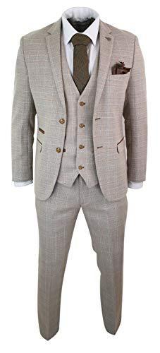 Paul Andrew Herrenanzug 3 Teilig Beige Vintage Retro Klassisch Tweed Design - Tweed Vintage-anzug