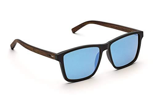 TAKE A SHOT - Große eckige Holz-Sonnenbrille Herren, Holz-Bügeln und Kunststoff-Rahmen, UV400 Schutz, rückentspiegelte Gläser - Karlsson