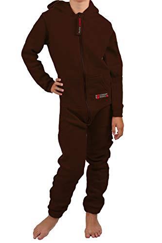 Gennadi Hoppe Gennadi Hoppe Kinder Jumpsuit - Jungen, Mädchen Onesie Jogger Einteiler Overall Jogging Anzug Trainingsanzug, braun,98-104
