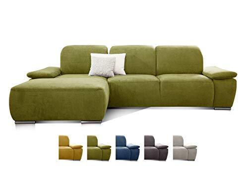 CAVADORE Ecksofa Tabagos / Große Couch mit Longchair links / Modernes Sofa mit Sitztiefenverstellung/ Verstellbare Rückenlehne / 283 x 85 x 187 /Grün