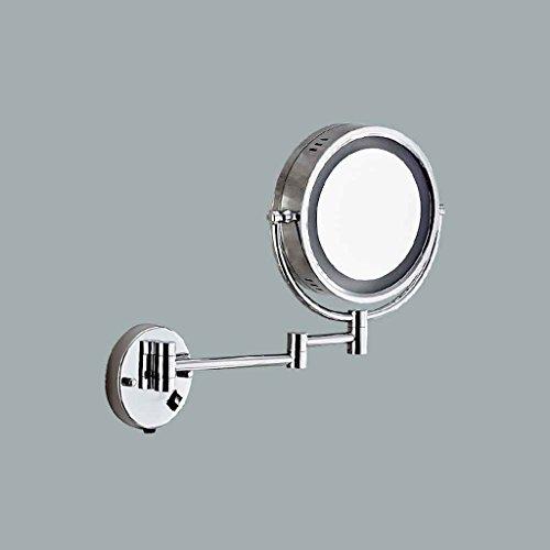 Miroirs de Maquillage Mural de cuivre LED de lumière LED télescopique Pliable de Section Mince épais de LED Section cosmétique (Couleur : Section épaisse)