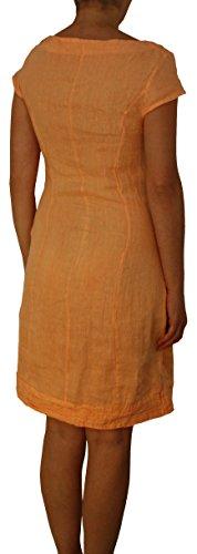 24022 Mesdames Robe en lin, genou, conique, S, M, L, XL, XXL, apricot, brun, blanc, rose, vert. Aprico