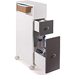 IDMarket - Meuble rangement WC sur roulettes 2 tiroirs gris