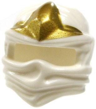 LEGO Ninjago - 10 Minifiguren Helme Kopfbeckungen in weiss mit goldenem 3-Punkt-Emblem (Harry Potter-troll-spielzeug)