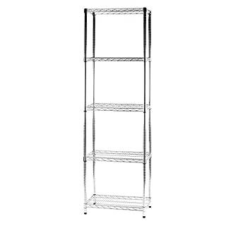 ARCHIMEDE System Modular Shelving Five Shelves, Metal, Chrome, 61x 36x 200cm