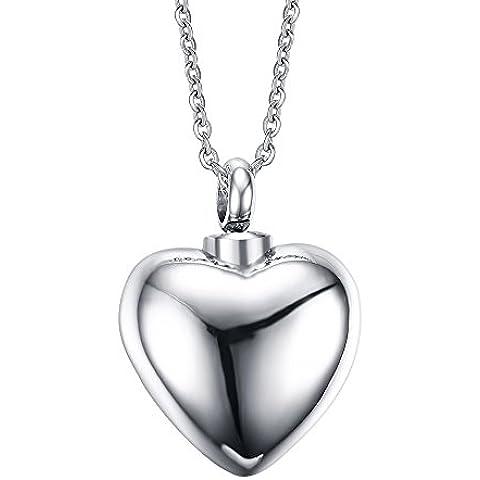 Vnox Collar conmemorativo del colgante de la ceniza del encanto del corazón de la urna de la cremación del recuerdo del acero inoxidable,grabado