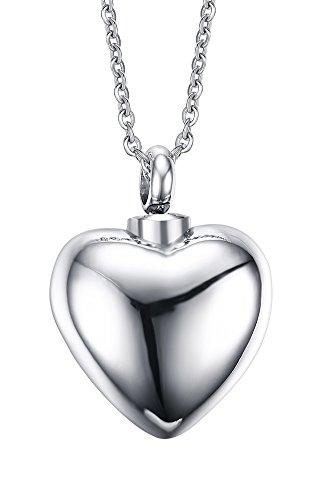 Vnox Collana del pendente Keepsake Memorial cremazione Urna di fascino del cuore Ash,libero incisione,con 50 centimetri a catena