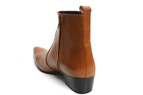 Gucinari pour homme en cuir marron clair cubain talon pointu cheville bottes taille 789101112 Brun