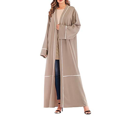 FENICAL Lange Ärmel Strickjacke Kleid Robe Lose Abaya Mantel Outwear Lose Muslimische Kleid Islamische Frauen Kleidung (Khaki, S)