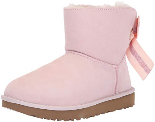 UGG Australia Donna Customizable Bailey Bow Mini Suede Seashell Pink Stivali 38 EU