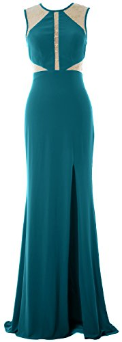 MACloth Women Mermaid Sexy Prom Dress Lace Jersey Evening Formal Gown with Slit Teal