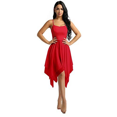iixpin Damen Ballett Kleider aus Chiffon Sling Tanzkleid Gymnastik Sport Training Trikot Kleid mit Unregelmäßiger Rock Rot ()