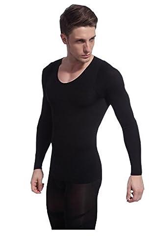 AHATECH Homme Sport Minceur Gilet Fitness Shapewear Compression à manches longues Noir