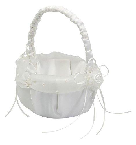 Mopec c330 - cestino per monete rotondo con tulle in avorio perle e fiori, confezione da 1pezzo