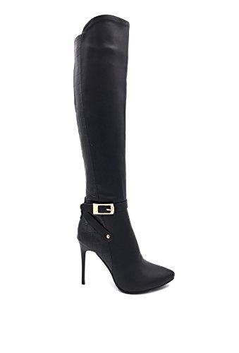 CHIC NANA . Chaussure femme botte à talon aiguille en similicuir, dotée d'un bout pointu, motif croco. Noir