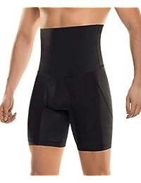 Controllo pancia dimagrante pantaloncini vita alta compressione uomo nero Shapers pantaloni