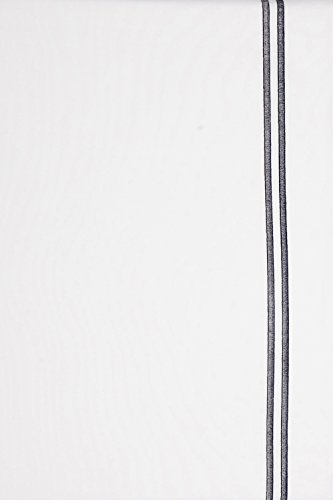 Cotton Counts - Bettwäsche Set Capri aus 100% ägyptischer Baumwolle in weiß verziert mit 2 gestickten Steifen (Stein-Grau), Fadendichte 400, Webart Perkal, Maße 135 x 200 + 80 x 80 cm -