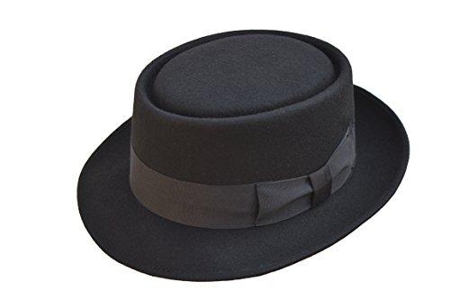 Viz-uk wear Chapeau Trilby en Feutre de Laine Fait Main avec Bande Noire