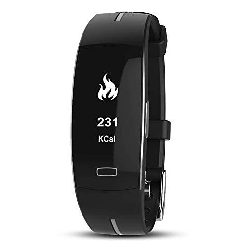 MRXUE Smart Watch schaut Sich den Wasserdichten Herzfrequenz-Monitor für Kinderfrauen an, die Bluetooth Pedometer für Android iOS Smartphone haben,Black