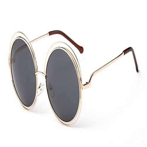 Sport-Sonnenbrillen, Vintage Sonnenbrillen, Vintage Round Big Size Oversized Lens Mirror Sunglasses Women Metal Frame Lady Sun Glasses Lady Cool Retro 2-Gold-Black