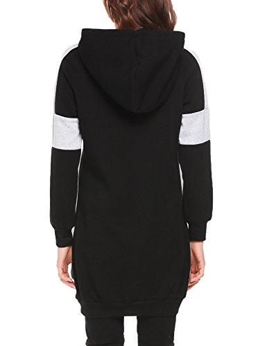L'AMORE Damen Hoodie Kapuzenpullover Pullover Kleid Sweatshirt Sweatkleid Longpullover Pulli Langarm Lang Hoody Oberteile Schwarz