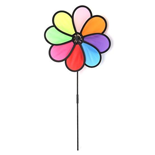 Hergon Moulin à vent Toys 8feuilles coloré extérieur Spinner pour jardin pelouse fête Décor