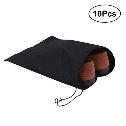 OUNONA 10PCS in tessuto non tessuto con coulisse borse scarpe per ginnastica da viaggio 30x 40cm (nero)
