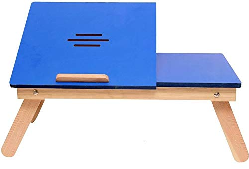 IBS Blue Matte With Drawer Solid Wood Portable Laptop Table  (Finish...