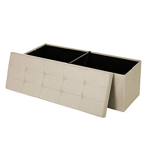 Songmics pouf cassapanca pieghevole contenitore 120 litri carico statico max. di 300 kg beige 110 x 38 x 38 cm lsf77be