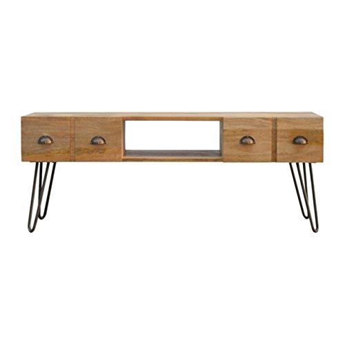 Artisan Meubles Meuble multimédia avec Base de Fer, Bois, Oak-ish Top/en étain, 120 x 35 x 45 cm