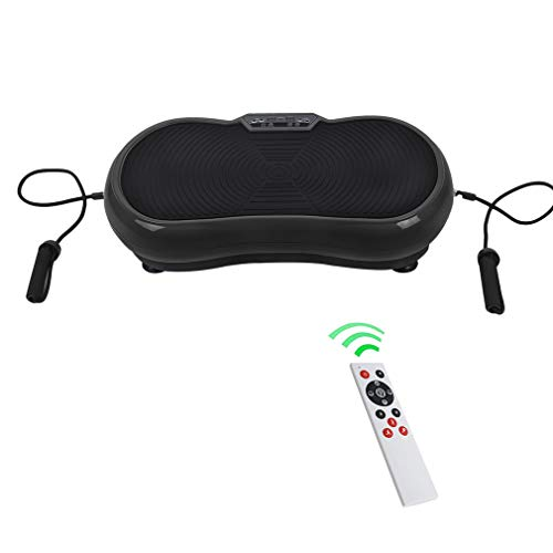Homgrace Vibrationsplatte Vibrationsgerät Abnehmen Trainingsgerät Zuhause Fitness Shaper mit LCD Display, Fernbedienung und Trainingsbänder (Schwarz)