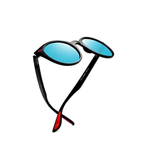 kimorn polarisiert Sonnenbrille Unisex Ovaler Rahmen Klassisch rot Gummi Brille K0625 (Matt-schwarz&Blau)