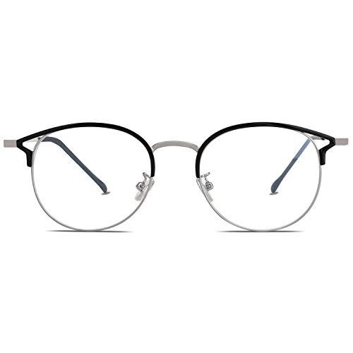SOJOS Anti Blaues Licht Brille für Damen Blaulichtfilter Hochwertig Blaulicht Brille SJ5035 mit Schwarz und Silber Rahmen/Anti-Blaulicht Linse