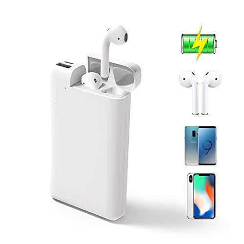 ATETION Power Bank 2 in 1 10000mAh Tragbares Ladegerät USB Typ C Externer Akku mit Ladetasche Kompatibel für AirPods iPhone Samsung Galaxy HTC Telefon Tablet, Weiß