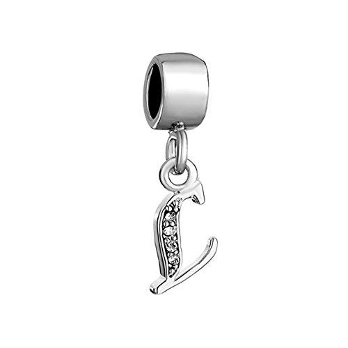 Pugster - Ciondolo con lettera dell'alfabeto A-Z, lettera con zirconi, per braccialetti Pandora, Chamilia & Troll., base metal, cod. DPC_MY154
