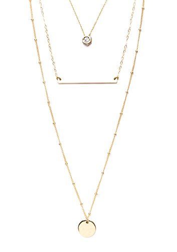 Happiness Boutique Damen Statement Kette Mehrreihig Charm Glücksbringer in Gold | 3 Reihige Halskette Modeschmuck Strass nickelfrei