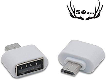 50 Stück USB 2.0 Micro USB Stecker auf USB Buchse Host OTG Adapter Micro USB auf USB 2.0 OTG Adapter für Adroid/Samsung I9250 S3 I9100 Note 2 Google Nexus Sony Handys oder Smart Tablets weiß weiß I9100 Handy