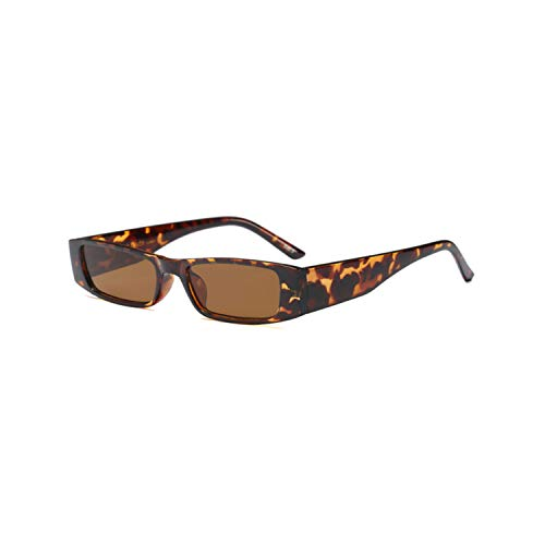Vikimen Sportbrillen, Angeln Golfbrille,Vintage Small Square Sunglasses Women Brand Designer Retro Leopard Frame Rectangular Sun Glasses Women UV400 Shades Leopard