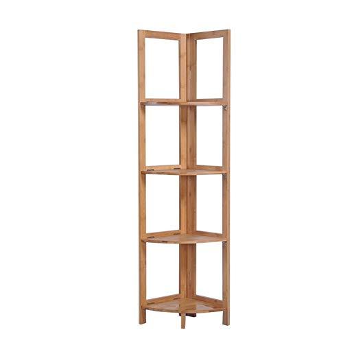 Freistehende Regaleinheit (4-Tier Bamboo Wooden freistehende Lagerung Display Regaleinheit Bücherregal Küchenregal Badezimmer Wohnzimmer Stand-up Corner Rack (Color : Brown))